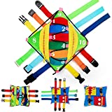 teytoy Sensory Buckle Pillow Toys Activity for Children Learning Fine Motor Skill and Problem Solving Buckles Educational Travel Toy,Fidgets for Kids Plus Threading Counting Zipper (12 Basic Skill)