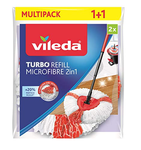 Vileda Turbo - Cabezal de repuesto 2 en 1 para Vileda Easy Wring & Clean Turbo, rojo/blanco, Doppelpack (2in1)