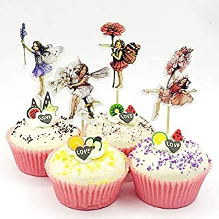 iMagitek 48 Pack Pretty Fairy Flower Cupcake Topper Picks, Cake Toppers Decorations for Fairy Flower Theme Party, Girls' Birthday Party, Wedding