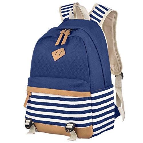 Schulrucksack,Aokey Fashion Mädchen Schulrucksack Damen Canvas Rucksack Teenager Baumwollstoff Streifen Schultasche Daypacks für Universität Outdoor Freizeit (Blau)