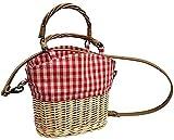 Zyyszma Bolso de fiesta de tejido de paja bolso de hombro de empalme de lona a cuadros rojos de ratán de paja Bolso de canasta tejido cruzado con capacidad 22X22X12CM
