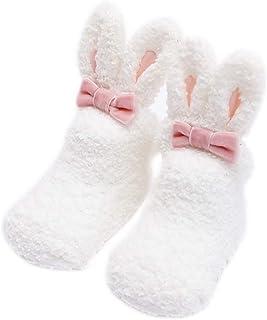 Scrox 1Par Calcetines de bebé Recién Nacido niña 3 años Lindo Conejo Peluche Espesar Socks Dormir Algodón Otoño e Invierno Calcetines Antideslizantes de Piso (Blanco)
