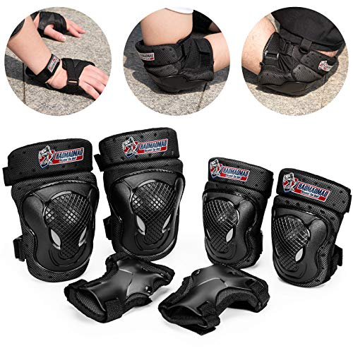 RUNDONG Knee Pads for Adult/Youth/Kids, Knee Pad and Elbow Pads Wrist Guards with Backpack Bag, Protective Gear Set for Roller Skates Cycling BMX Bike Skateboard Inline Skatings Scooter Riding Sports