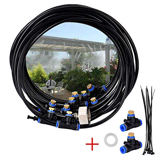 sistema de riego microflow, juego de humidificación para invernadero al aire libre, línea de humidificación de 8 m, 9 boquillas de latón, adaptador de latón (3/4)