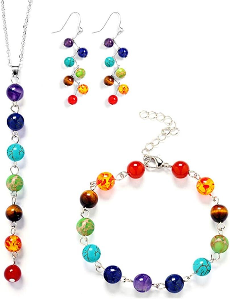 Brishow 7 Chakra Stones Necklace Bracelets Earrings Jewelry Set Rainbow Multi-Gem Cluster Necklaces Bracelet Earring Set Lava Rock Stone Beads for Women and Girls