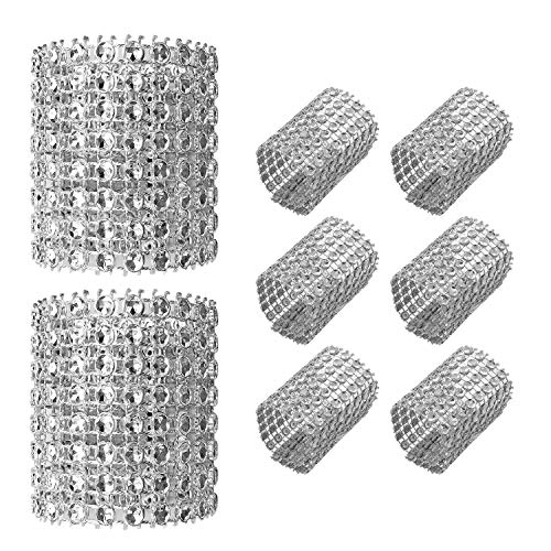 Gute Napkin Rings,Rhinestone Napkin Holder Rings Adornment for Place Settings, Wedding Receptions, Dinner or Holiday Parties, Family Gatherings,Delicate Ideal Table Setting Decoration(120 PCS,Silver)