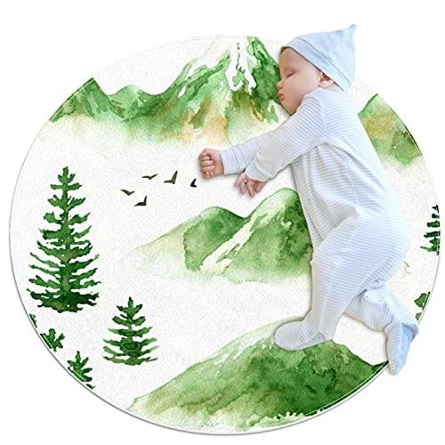 JHKHJ Okrągły antypoślizgowy dywan dzieci okrągły dywan okrągły dywan można prać w pralce dywan zielony góra 80 x 80 cm