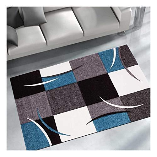 UN AMOUR DE TAPIS 140x140 Diamond Comma - - Tapis Moderne Design Tapis Salon - Tapis carré - Tapis Bleu, Gris, Noir, créme - Couleurs et Tailles Disponibles