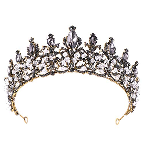 Gmgod❤️❤Diamond Headwear,Luxury Elegant Crown Full Black Zircon Flower Headwear Headband Ladies Jewelry (Black)