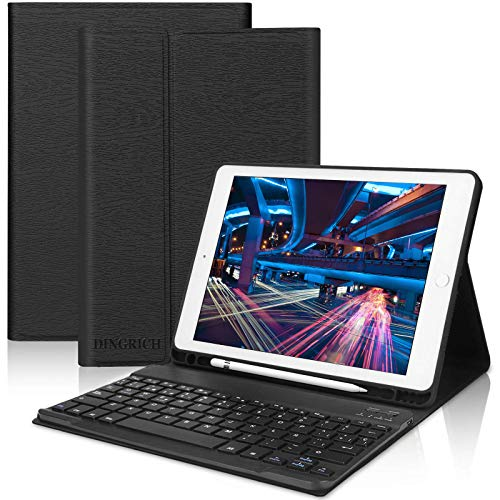 DINGRICH Teclado con Funda para iPad 9.7 2018,Español Ñ Teclado Bluetooth Inalámbrico Desmontable con Portalápiz para iPad Air 2/iPad Air/iPad 2018(6th Gen)/iPad 5 2017/iPad Pro 9.7 Smart Case Negro