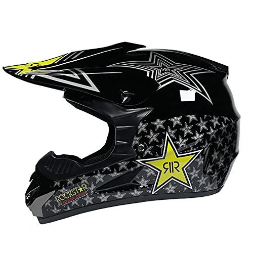 LGLE Casco de motocross, casco de motocicleta para adultos, con gafas y guantes de máscara, unisex de cara completa, cascos Quad Enduro MTB Downhill ATV para adultos, jóvenes, hombres, mujeres, A, M