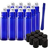 12PCS, 10 ml in vetro blu con rulli su rullo olio essenziale di bottiglie in acciaio INOX con rullo – ricaricabile bottiglie con coperchio Opener Pry Tool & 1 trasferimento pipetta