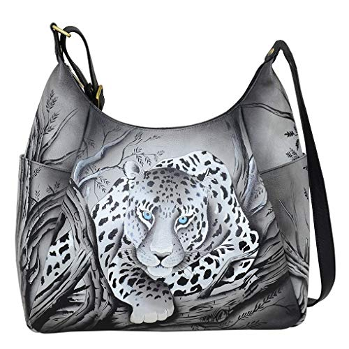 Anna by Anuschka Hand Painted Leather Women's Large Multi Pocket HOBO, African Leopard