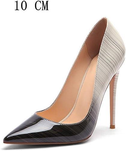 Hysxm zapatos De Tacón Alto para mujer zapatos De mujer zapatos De Tacones De Novia zapatos De Tacón De mujer zapatos De Charol Fiesta De Boda blancooa 10 Cm gris