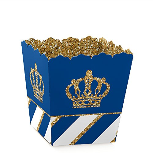 Big Dot of Happiness Royal Prince Charming - Party Mini Favor Boxes - Baby Shower or Birthday Party Treat Candy Boxes – Set of 12