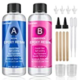 16OZ Epoxy Resin - Crystal Clear Resin Kit for Jewelry DIY Art Crafts Cast Coating Wood,Easy Cast Resin Bonus with 4pcs Sticks,2pcs Graduated Cups, 2 Pairs Gloves,1 Instructions