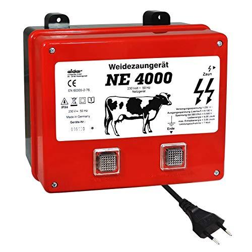Eider Weidezaungerät NE 4000-230 Volt Netzgerät, Made in Germany - Rinder, Pferde, Schafe, Wildabwehr, Rehwild