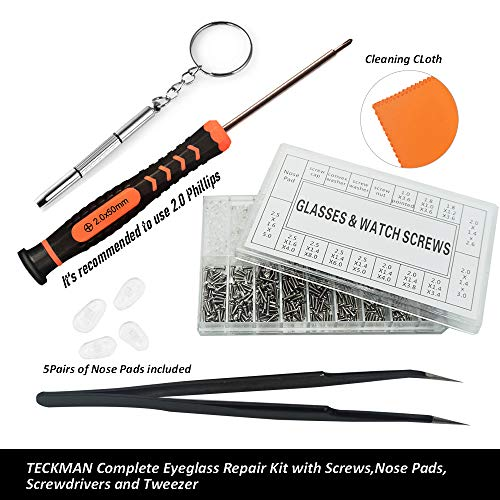 TECKMAN Eyeglass Repair Kit, Small Eyeglasses Screwdriver Tool Set with Assorted Tiny Screws,Nose Pads,Cleaning Cloth and Curved Tweezer for Jewelry,Glasses,Sunglass,Spectacles and Watches