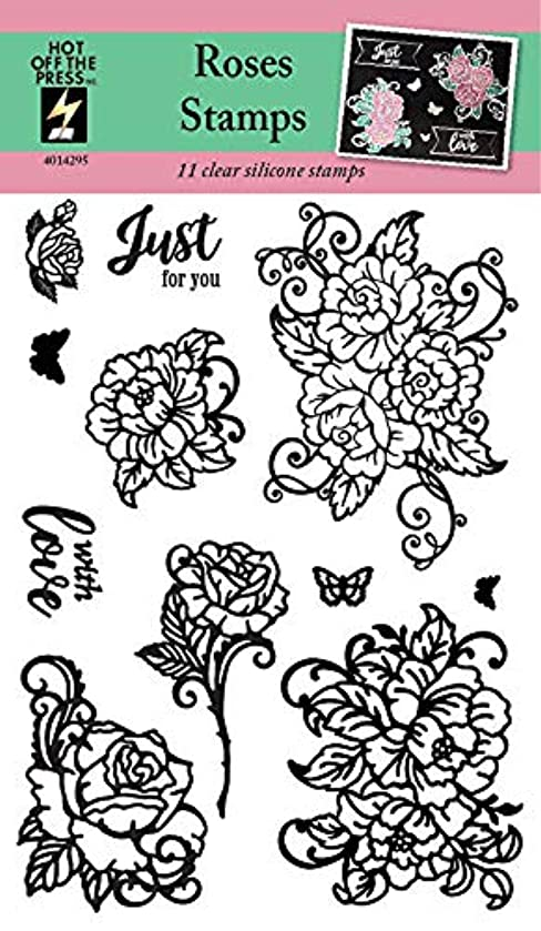 Clear Silicone Stamp Set by Hot Off The Press   Scrapbooking, Card Making, Gifts and Home Decor - Inspiration at Your Finger Tips (Roses)