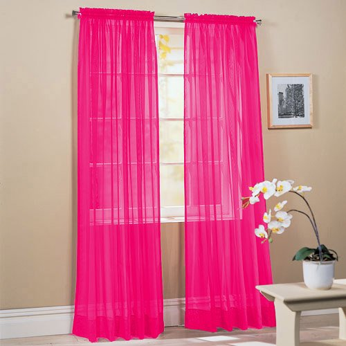 Comfy Deal 2 Pieces Beautiful Elegance Fully Stitched Window Sheer Voile Curtain Panel (Hot Pink)