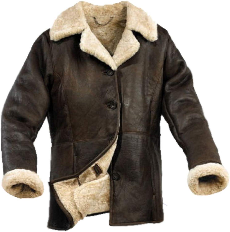 BTFashion Women's Genuine Sheepskin Flying Aviator Real Leather Fur Jacket