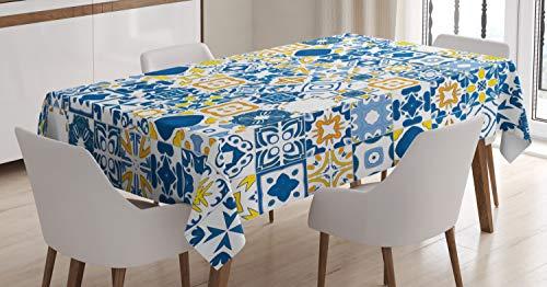 ABAKUHAUS Amarillo y Azul Mantele, Azulejo de Mosaico, Resistente al Agua Apto Uso Exterior e Interior No Destiñen, 140 x 200 cm, Azul Violeta de Mostaza