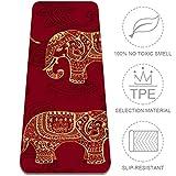 Eslifey Esterilla de Yoga diseño de Elefantes Indios étnicos, Gruesa, Antideslizante, para Mujeres y niñas, Esterilla de Ejercicio Suave para Pilates (72 x 24 Pulgadas, 1/4 Pulgadas de Grosor)
