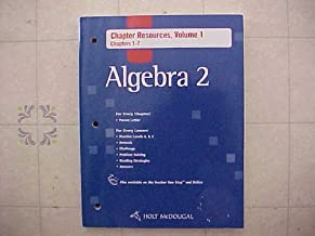 Holt McDougal Algebra 2: Chapter Resources, Volume 1 Chapters 1-7