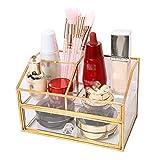 genral Organizador de maquillaje para encimera, caja de almacenamiento de cosméticos, caja de almacenamiento de vidrio, cubo con cajones, cajas de cosméticos para baño, aparador y organizador