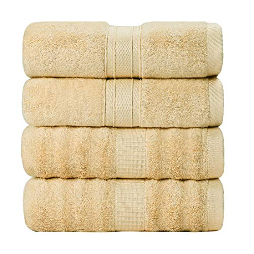 PiccoCasa Bamboo Cotton Bath Towels 4pcs 27x54 Inch Ribbed Luxury Bath Towel Set for Bathroom, Super Soft and Absorbent 2 Style Bathroom Sheet Light Mustard Color