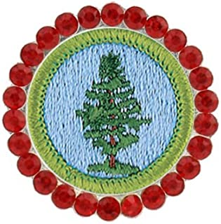 Girl Scout Brooch Pins Cadette Pine Tree Troop Crest Merit Badge Pin Glass Brooches Crystal Breastpin Gifts Children Round Jewelry