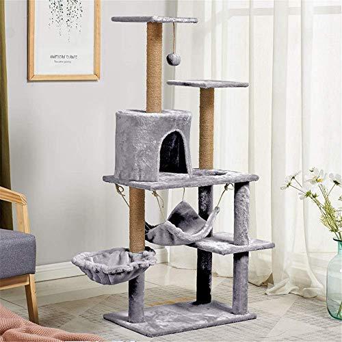 Verhoog Cat klimrek met hangmat Kat Nest Met Sisal Bold Cat krabpaal Grab Board Flanel Cat klimrek (Kleur: Blauw, Maat: 55X38X130CM) 8bayfa (Color : Gray, Size : 55X38X130CM)