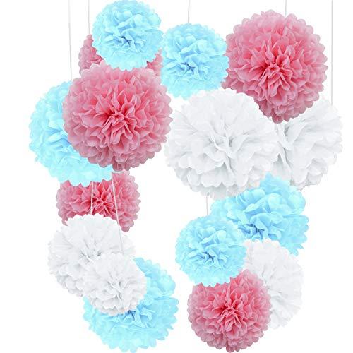 Yolistar Pompon di Carta,Decorazione di Festa,27 Confezione Appendere Carta velina Pom poms Flower Ball Kit per Compleanno Decorazione della Festa Nuziale Nozze (Azzurro,Rosso chiaro,bianca)