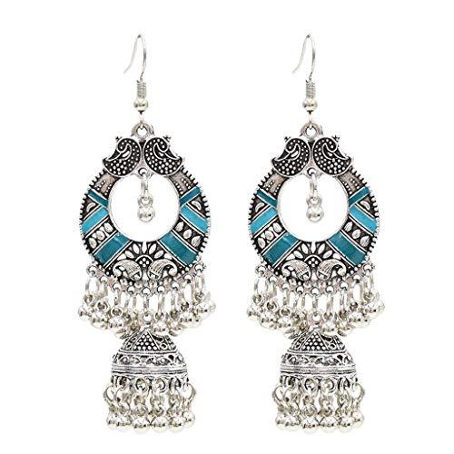 SHURROW Pendientes Indios étnicos Tradicionales Bali Jhumka Jhumki Gypsy Dangle Pendientes Ear Stud