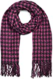 styleBREAKER chal de mujer con motivo de pata de gallo y deshilachados alrededor, invierno, estola, pañuelo 01017122, color:Pink-negro