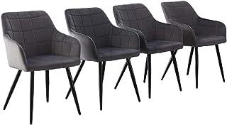 CLIPOP Juego de 4 sillas de Comedor de Terciopelo, tapizadas, diseño Retro, con reposabrazos, con Respaldo y Patas de Metal