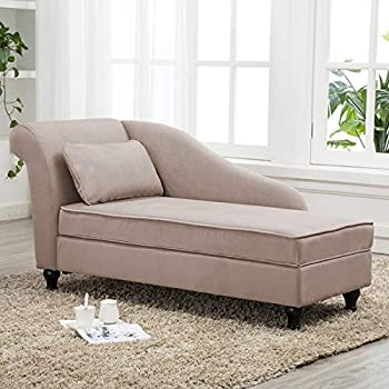 Storage Chaise Lounge Indoor Upholstered Sofa Recliner Lounge Chair for Bedroom Living Room Tan Fabric  Left Armrest