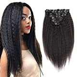 Kinky Straight Clip Ins Human Hair Extensions For Black Women 7pcs/lot Coarse Yaki Natural Hair Kinky Straight Clip In Human Hair Extensions Double Weft Natural Color,14inch,100g/set