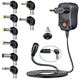 PChero 12W Fuente de Alimentación CA DC Adaptador de 3V a 12V con 8pcs DC Conectores Intercambiables para Electrónica Doméstica - 1200mAh
