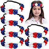 JOYIN 6 Pcs Patriotic Flower Headbands Hair Accessories for 4th of July Celebration, Red White Blue Headband, Independence Day, Memorial Day, Patriotic Party Favor