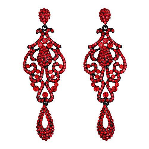 EVER FAITH Mujer Cristal Austríaco Boda Vintage Flor Patrón Ahuecado Pendientes Rojo Tono Negro