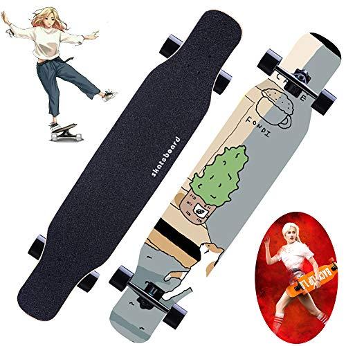 YGWL Maple Longboard,Professionelles Skateboard Teens Brush Street Dance Board Tragfähigkeit Bis Zu 150 Kg,Geeignet für Jedes Fahrniveau,E