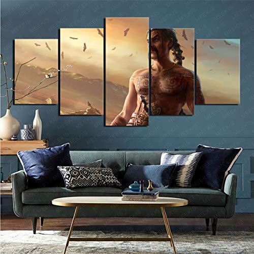 mmkow Impresión sobre lienzo de 5 piezas de la serie de televisión Juego de Tronos, cuadro lienzo para decoración del hogar dormitorio 80 x 150 cm (enmarcado)