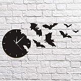 AliExpress miroir montre horloge murale horloge murale de la personnalité de la mode bat décoration murale en trois...