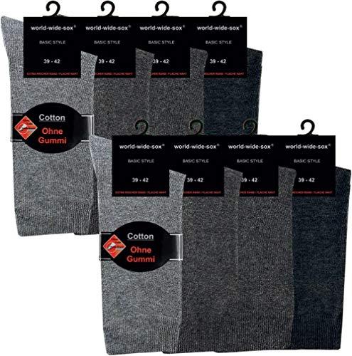 world wide sox | Socken & Strümpfe für Herren | Baumwolle elastisch ohne Gummidruck | 8 Paar | dunkel-, mittel-, hell antrazit | 39-42