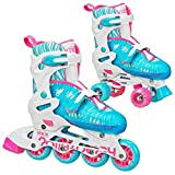 Roller Derby 2N1 Combo - Quad Roller Skates and Inline Skates - with Adjustable Sizing (White/Blue, Medium (3-6))