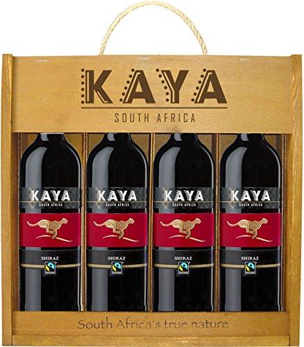 Kaya Fairtrade Shiraz Holzkiste Trocken (4 x 0.75 l)