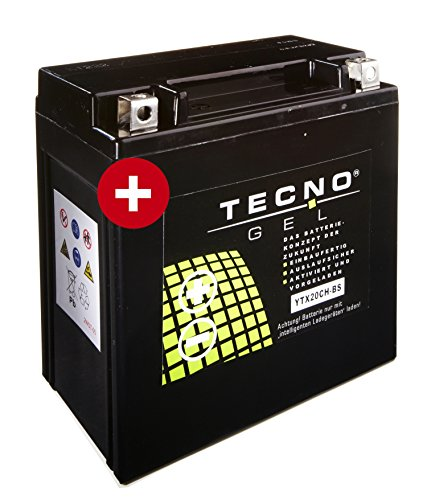 TECNO-GEL Motorrad-Batterie YTX20CH-BS, 12V Gel-Batterie 18AH, 150x87x161 mm inkl. Pfand