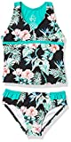 Tommy Bahama Girls' Two-Piece Bikini Swimsuit Bathing Suit, Floral Black, 16