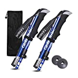 Trekking Poles Collapsible Hiking Poles - 1 Pair Aero-Grade Aluminum Alloy Trekking Sticks with Quick Lock System, Telescopic, Antishock,Collapsible, Ultralight for Hiking, Camping